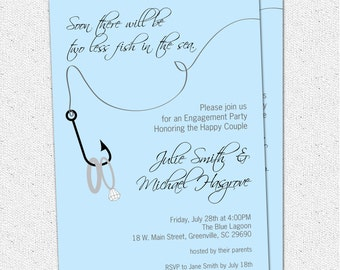 Engagement Party Invitation, Couples Bridal Shower, Two Less Fish in the Sea, Rings, Nautical, Fishing, Lake, Printable or Printed