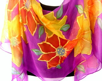 """Hand Painted Silk Scarf, Floral Multicolored, Purple Gold Orange , 71"""" Long Scarf,  Silk Chiffon Scarf, Gift For Her"""