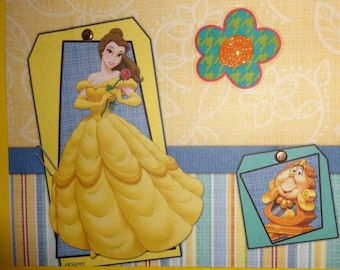 Belle Beauty and the Beast Disney princess scrapbook page 12X12 pink girl dress-up imagination