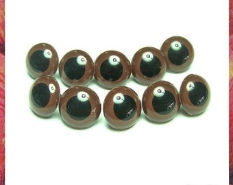 20 mm BROWN Safety eyes Amigurumi Eyes Plastic eyes for Amigurumi and Soft toys - 5 pairs