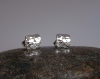 "Sweet, Dainty Sterling Silver ""puffy"" square studs, Sterling silver studs, 6mm stud earrings"