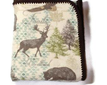 Crochet Edge Wild Life Cabin Lodge Large Fleece Throw Blanket
