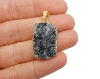 Druzy Cluster Pendant with Electroplated 24k Gold Edge and Bail -- Dark Color - ONE of a KIND (G-058)