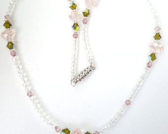 The Charlotte Necklace - Beaded Necklace with Soft Pink, Dusty Rose and Olive Green Swarovski Beads, Bridal Necklace, Bridesmaid Necklace
