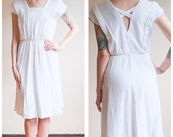 1980s Dress // Summer White Cotton Dress // vintage 80s dress