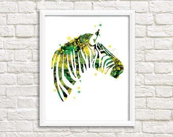 Zebra illustration, design, green and yellow wall decor, animal art creation