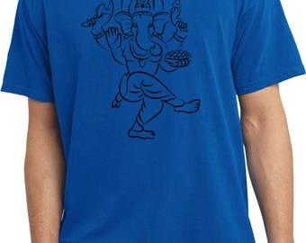 Yoga Clothing For You Mens Shirt Sketch Ganesha Black Print Pigment Dyed Tee T-Shirt = PC099-BSKETCHGANESH