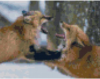Cross stitch foxes playing in the snow pdf pattern