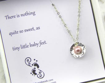 Baby Girl Gift,Baby Footprint Necklace,New Mother Gift,Baby Shower Gift,Sterling Silver