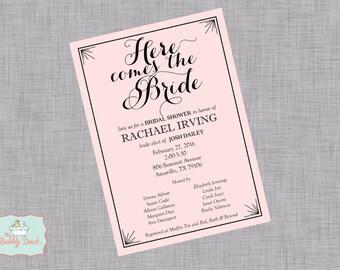 Here comes the Bride Bridal Shower Invitation: Printable