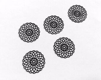 prints 10 spacer metal rosette black 20mm for jewelry headband