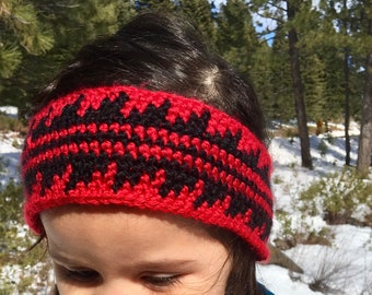Red native headband, toddler earwarmer, kids gifts, winter hats, Native American crochet, crochet headband, red and black, handmade hat