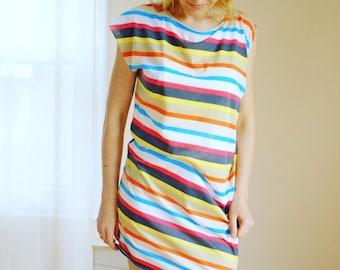 Asymmetrical Dress / Striped Mini Dress / Summer Dress Multi Color