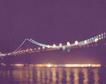 San Francisco night photography, Bay Bridge photo, rich purple plum, gold lights, dreamy bokeh, sparkle twinkle, California architecture