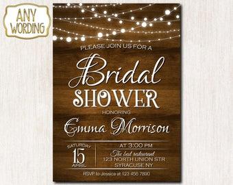 Wood and lights bridal shower invitation, Rustic Bridal Shower Invitation, Wedding Shower invitation, Rustic invitation - 1645