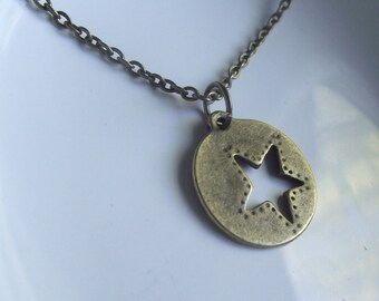 Star Cutout Antique bronze Pendant on a Delicate Chain Necklace