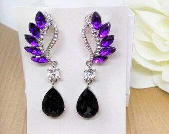 Purple Amethyst Earrings, Wedding Jewelry, Bridal Jewelry, Long Crystal Earrings
