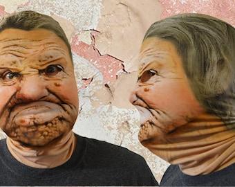 3D Effect Grumpy Old Woman Faceskin Lycra Fabric Face Mask Halloween Mask