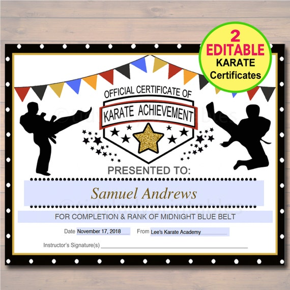Editable karate certificates instant download karate belt editable karate certificates instant download karate belt awards ninja party printable printable martial arts acheivement karate party yadclub Image collections