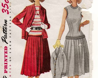 "A Retro Ensemble Sewing Pattern for Women: Pleated Skirt, Sleeveless Blouse and Cardigan Jacket - Retro Size 12, Bust 30"" • Simplicity 4157"
