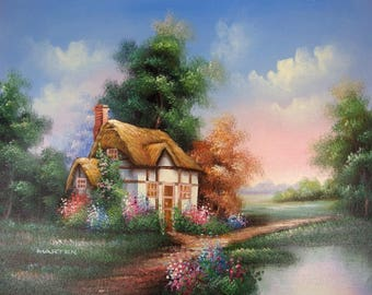 Marten Original Oil on Canvas Painting Cottage at Sunrise/Sunset Unstretched