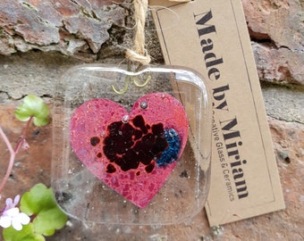 Love Heart Suncatcher - Fused Glass