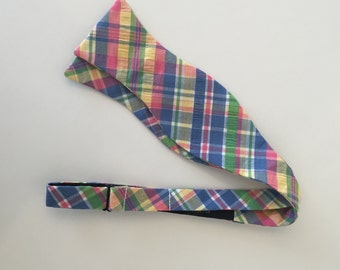 Men and Teen's Pink, Blue Green Plaid Bow Tie