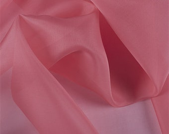 Coral Silk Organza, Fabric By The Yard