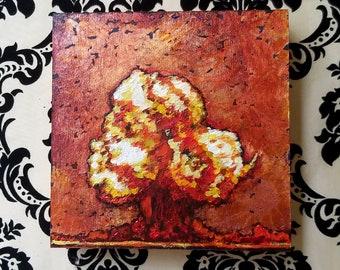 Atomic, 6x6 MIniature Original Acrylic Painting on Cradled Wood
