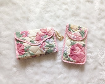 Set of two cosmetic bags | set of two vintage pink floral cosmetic bags pouch