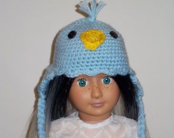 """Blue Chick Animal Hat to Fit 18""""  American Girl size dolls Hand Crocheted Clothes"""