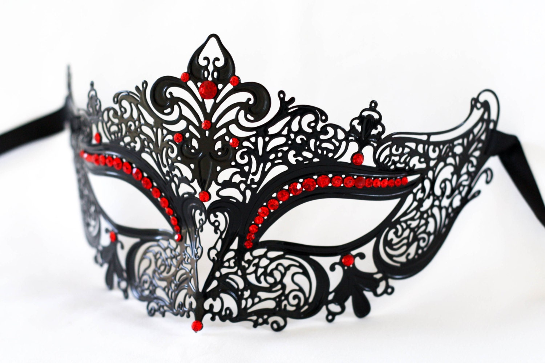Masquerade mask laser cut metal black masquerade mask with