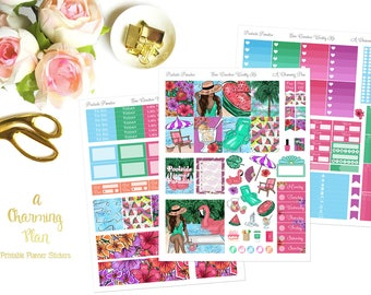 Poolside Paradise - Printable Planner Stickers - Instant Download