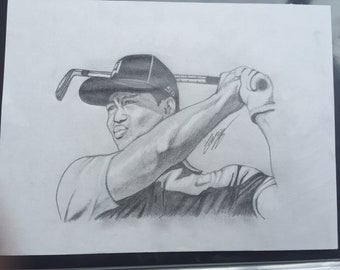 Tiger Woods Throwback Drawing - Hand Drawn Pencil Sketch
