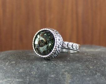 Rustic Romantic ~ Black Diamond ~ Swarovski crystal ring