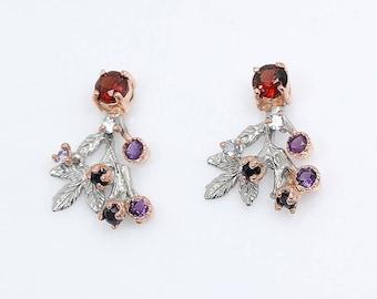 Garnet Earrings, red gift mom, Statement earrings for women, January Birthstone, gift coworker, flower earrings, Botanical nature inspired