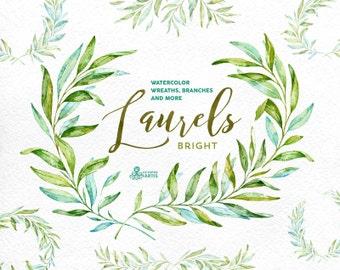 Laurels Bright. Watercolor wreaths, branches. Leaves, frames, green, wedding invitation, foliage, greeting card, diy clip art, olive, leaf