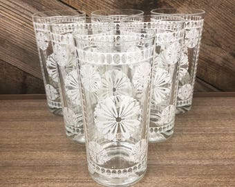 Flower Highball Glasses, Set of 6