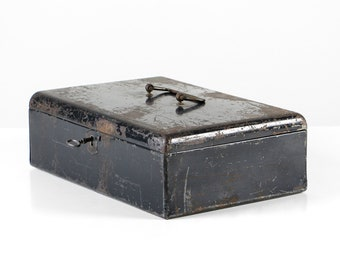 Vintage cash box, metal cash box, black metal chest, antique cash box, vintage metal case