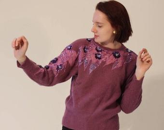 Vintage Sweater 80s Sweater Purple Sweater Floral Sweater Womens Sweater Sequin Sweater Sheer Sweater Small Sweater Medium Sweater Lavender