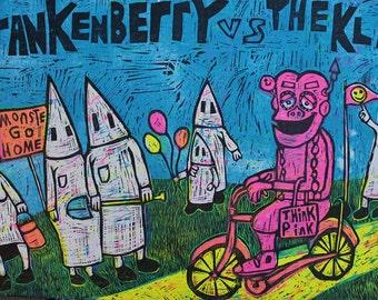Frankenberry Vs The Klan. classic woodcut