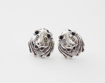 Guinea Pig Studs, Guinea Pig Earrings, Guinea Pig Jewelry, Silver Studs, Hamster Earrings, Silver Hamster Earrings, Guinea Pigs, Pet studs