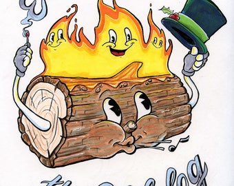 Eustace the Yule Log Art Print