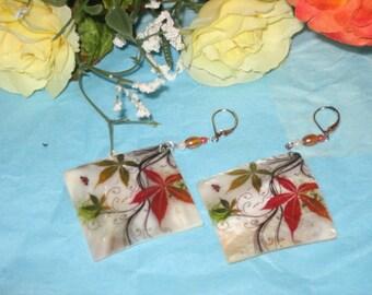 Poinsettia Earrings, Seasonal Earrings, Mother of Pearl Shell Dangle Earrings, Painted Poinsettia Earrings, Pierced