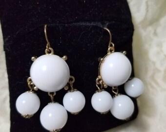 Vintage white multi bead Pierced earrings