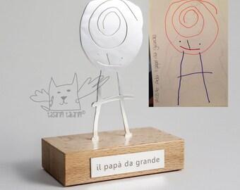 Fait à la main unique personnalisé argent figuré table sculpture, cadeaux de l'art de votre enfant, cadeau de Noël unique