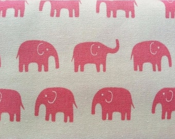 Elephant Fabric in Pink Daiwabo Fabric Tip Top Canvas - 1 Yard