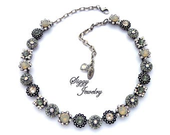 Swarovski® Crystal Statement Necklace, Ornate Detailed Flowers, Grays, Neutrals, Metallic Silver, Over 200 Crystals, TEMPEST, Gift Packaged
