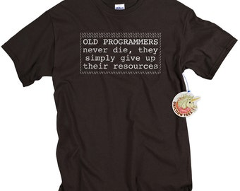 Old programmers never die computer programmer t shirt mens geekery computer programming birthday over the hill gift tshirt data nerds