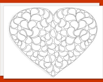 Color Your Own Card - Greeting Card Ready for Your Unique Coloring  - Swirling Heart